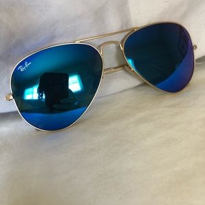 Authentic ray ban aviator flash lens blue